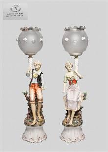 Pair Collectible Capodimonte Porcelain Lamps