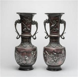 Pair Tall Japanese Meiji Bronze Cabinet Vases