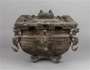 Large Chinese Bronze Covered Pot