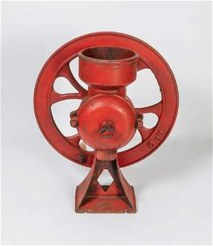 Large Collectible Red Iron Coffee Grinder