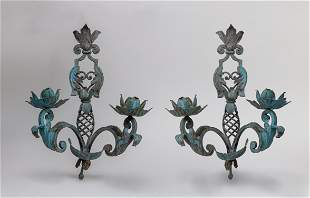 Pair English Type Bronze Candle Sticks