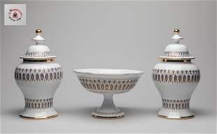 Italy Enameled Porcelain Urns/Central Piece