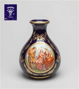 Italy Keramos Enameled Porcelain Vase