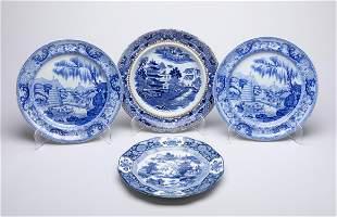 Group 18-19th Davenport Blue White Porcelain Plates