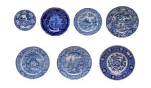 Set Antique Davenport Type Porcelain Plates