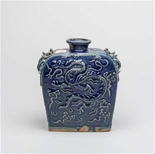 Chinese Export Blue Glazed Porcelain Dragon Pot