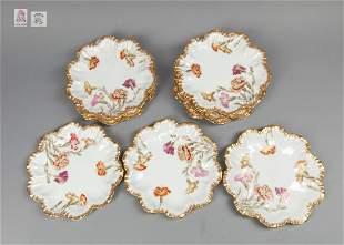 Set Enameled Limoges Porcelain Flower Plates