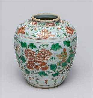 Chinese Green Red Porcelain Jar