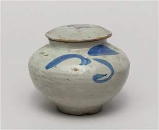 Korean Old Blue White Porcelain Covered Jar