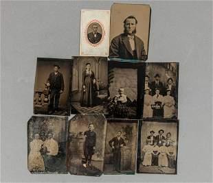 Group Antique Tin Type Photos