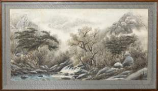 Large Chinese Watercolor Wall Hanging Painting