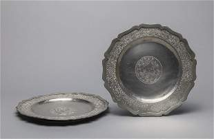 Pairs Chinese Old Pewter Dragon Plates