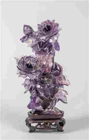 Chinese Export Carved Amethyst Vase