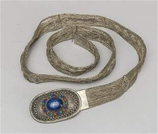 Vintage Silver/Lapis Gem Stones Belt