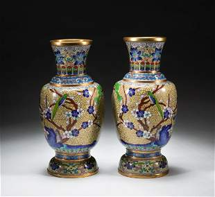 Pairs Chinese Export Cloisonne Cabinet Vases