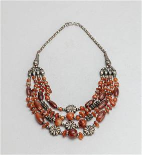 West Asian Old Cameo Agate Silver Link Necklace