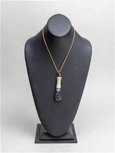 Chinese Export Jade & Tourmaline Necklace
