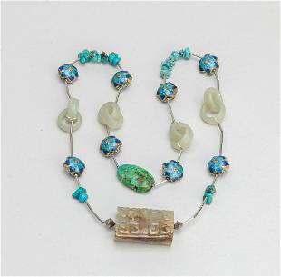 1990 Chinese Export Jade & Cloisonne Necklace