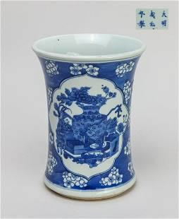 Chinese Export Blue White Porcelain Brush Pot