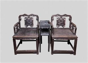 Chinese Wood Arm Chair & Table