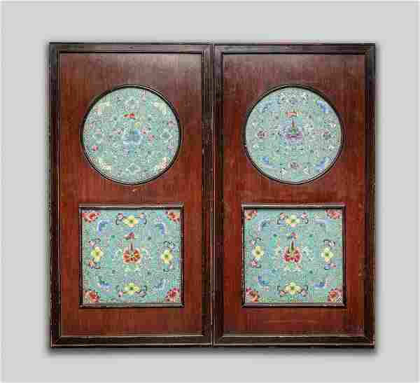Pair Framed Chinese Porcelain Plaque