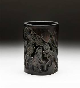 Chinese Huanghuali Like Carved Wood Brush Pot