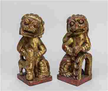 Pair Chinese Antique Gilt Wood Foo Dogs