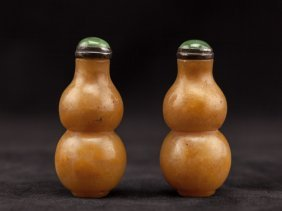 Pairs Of Chinese Antique Agate Snuff Bottle: Gourd