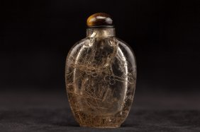 Chinese Antique Carved Hair Crystal Snuff Bottle