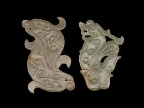 Group Of Two Ming Archaistic Jade Pendant