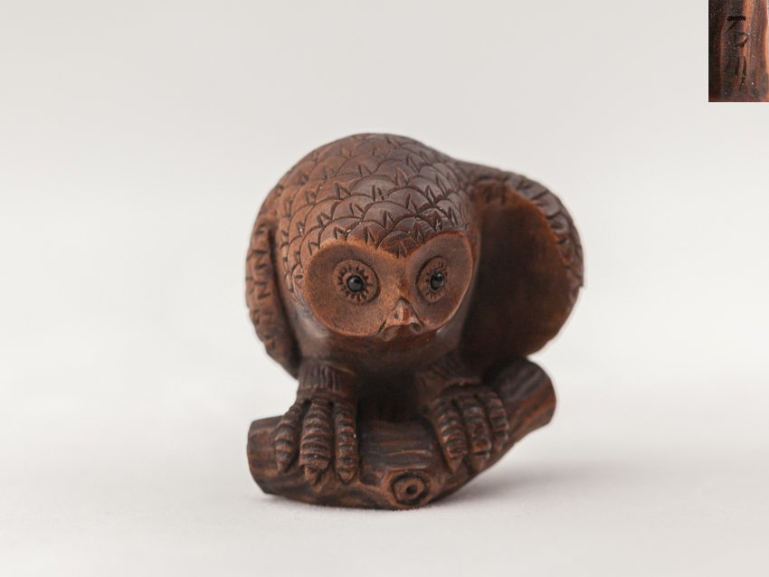 Antique Carved Box Wood Netsuke:Owl