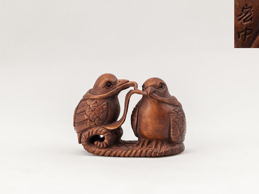 Antique Carved Box Wood Netsuke:Birds