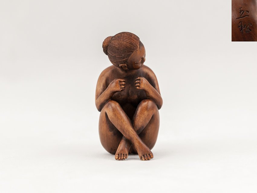 Antique Carved Box Wood Netsuke:Erotic female