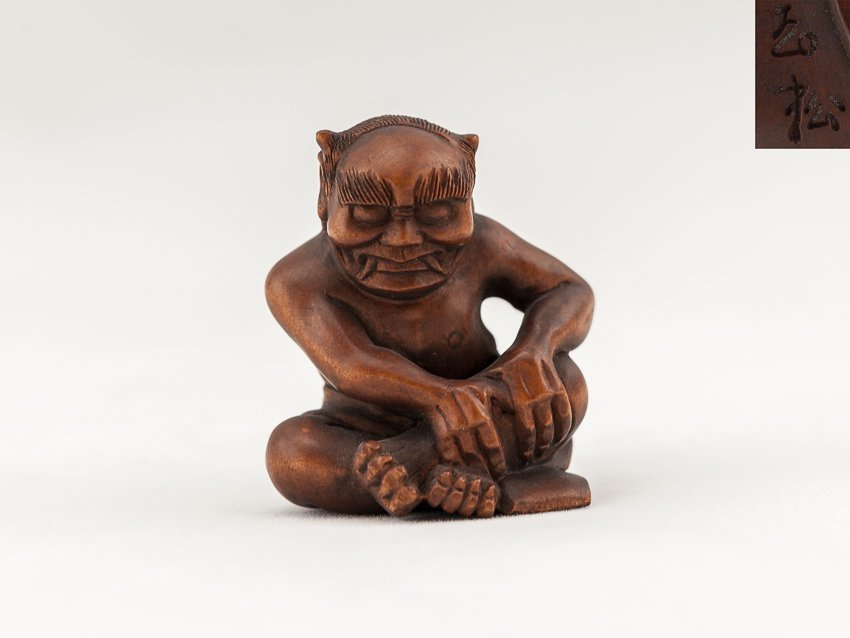Antique Carved Box Wood Netsuke:Devil