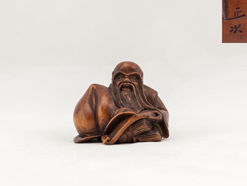 Antique Carved Box Wood Netsuke:Shou Lao