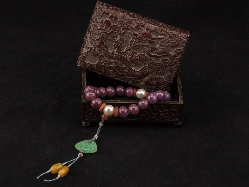Late 19th Chinese Antique Ruby Prayer Beads