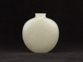 18th Chinese Antique White Jade Snuff Bottle