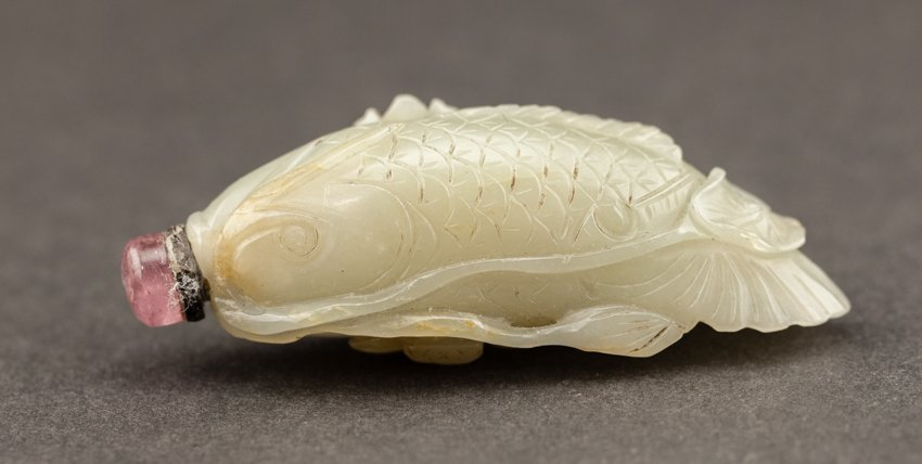 19th Chinese Antique Celadon Carved Jade Snuff Bottle