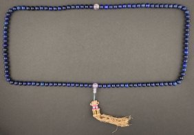 19th Chinese Antique Lapis Prayer Beads