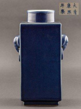 Chinese Antique Celeste Qing Dynasty Blue Glazed