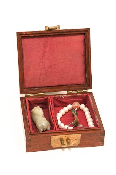19th Chinese Antique Wood Jewelry Box with Prayer Beads