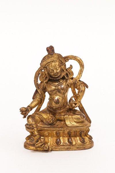 18-19th Chinese Antique Gilt Bronze Tibetan Figure: