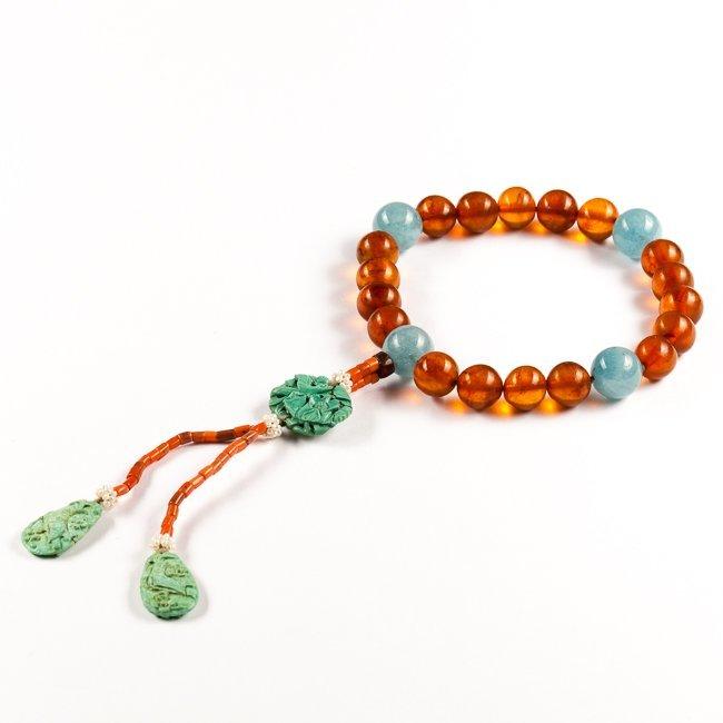 18-19th Chinese Antique Amber & Aquamarine Prayer Beads
