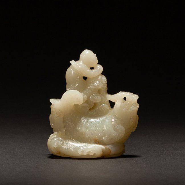 19th Chinese Antique White Jade Boy