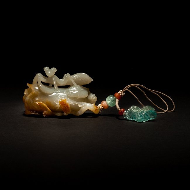 18-19th Chinese Antique White&Brown Jade Pendant