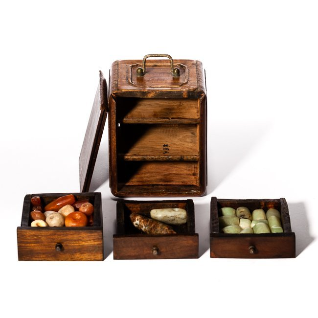 19th Chinese Antique Wood Jewelry Box