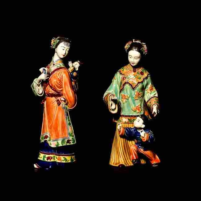 Pair Stonewarre Pottery Figures: Ladies