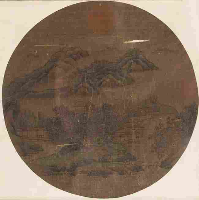 19th Chinese Antique Folding Fan Painting