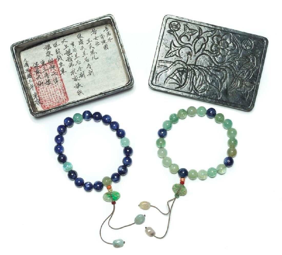 Group Chinese Antique Aquamarine and Jem Stone Prayer