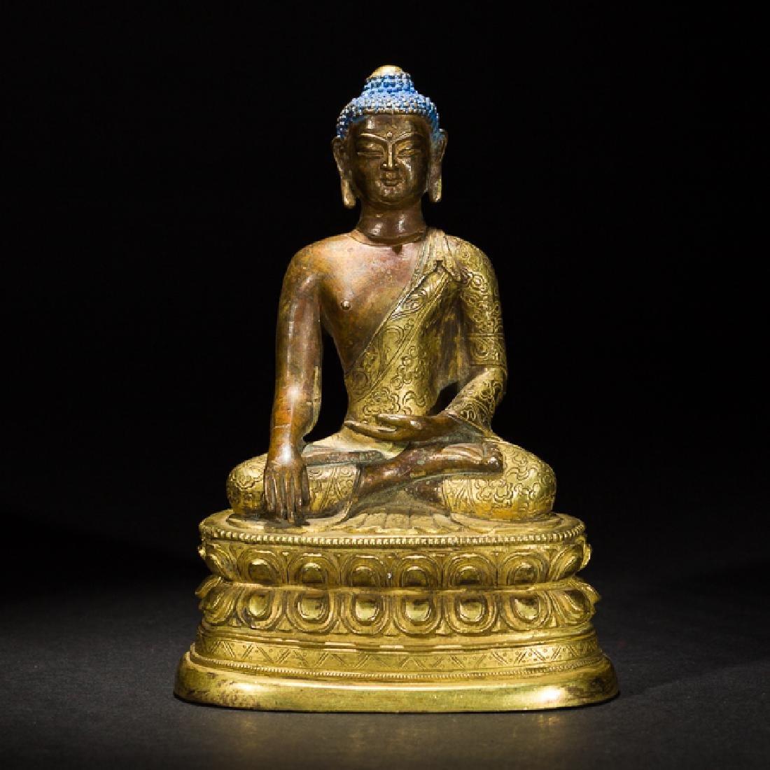 Antique Gilt Bronze Figure of Shakyamuni Buddha, 18th